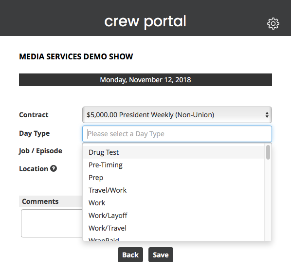 Crew Portal Salary Time Entry