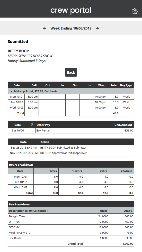 Crew Portal Hourly Submitted Timecard