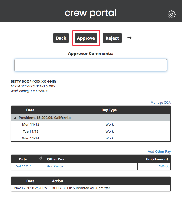Crew Portal Approver Detail APPROVE